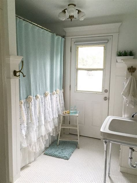 shabby chic shower curtain aqua blue lace ruffle