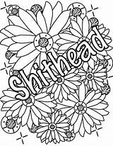 Coloring Adult Pages Sweary Shithead Words Stress Relief Outline Doodles sketch template