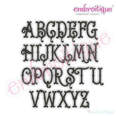 alphabets embroidery fonts tillman classic tuscan  letter monogram machine embroidery