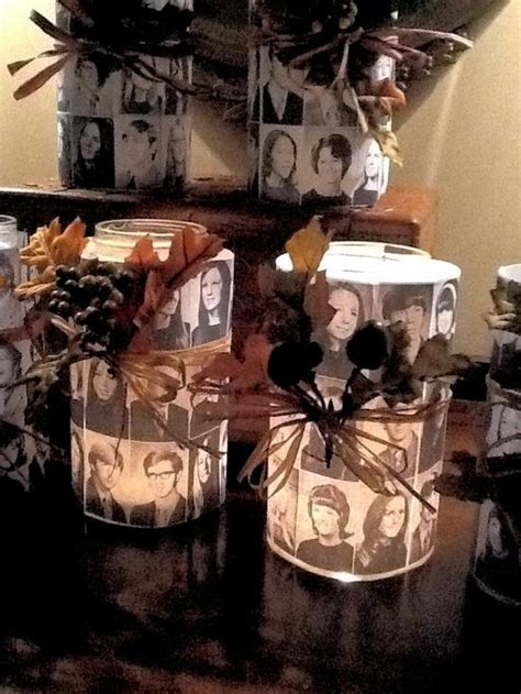 create candles with photos of the departed classmates memorials