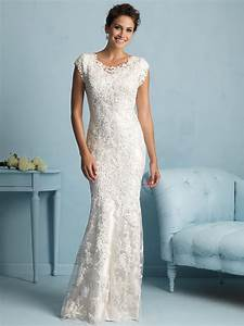 allure modest sheath lace wedding dress m536 With form fitting wedding dresses