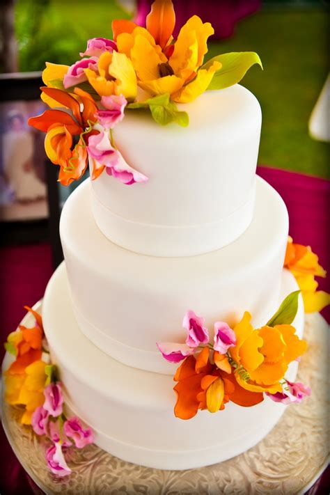 bright edible flowers   wedding cake  celebrating