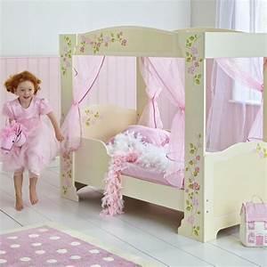 Girls rose 4 poster junior toddler bed new mdf four for Toddler bed girl