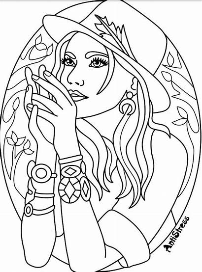 Coloring Pages Adults Blank Witch Adult Female