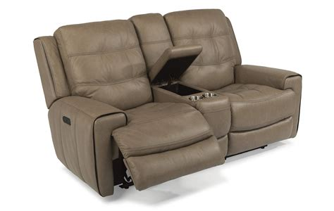Recliner Loveseats With Console by Flexsteel Wicklow Leather Power Reclining Loveseat With