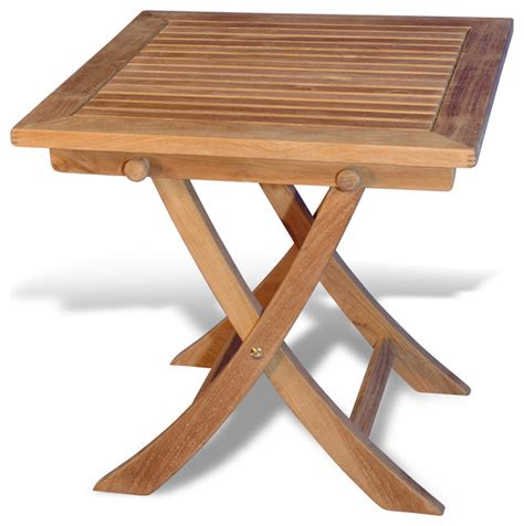 teak side square folding table traditional outdoor