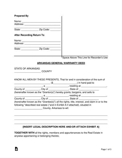 blank easement forms free arkansas general warranty deed form word pdf