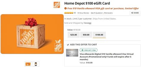 Each, however, has its own downsides to consider, and which you should choose likely depends on your. (EXPIRED) Newegg: Get $10 Visa eGift Card Free When Buying $100 Home Depot Gift Card