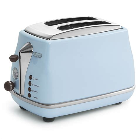 blue toasters delonghi icona vintage blue two slice toaster