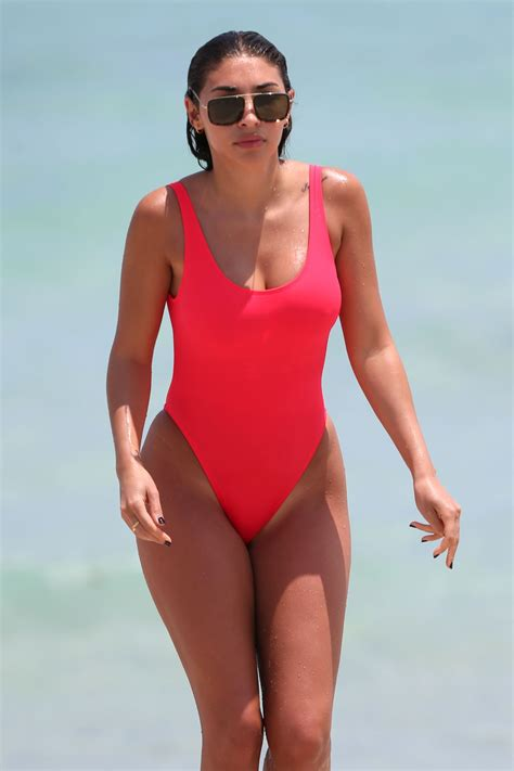 chantel jeffries  red swimsuit beach  miami