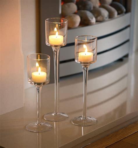 set   tea light glass candle holders auraglow led