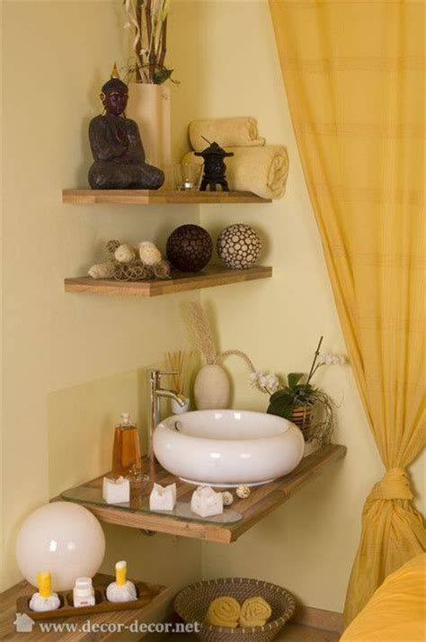 Spa Like Bathroom Decor by Corner Shelves Feng Shui Decorating
