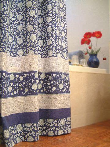 Midnight Lotus Unique Asian Floral Blue Fabric Shower