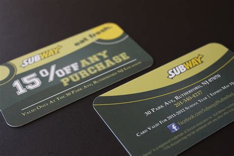 subway discount card design pix  graphx