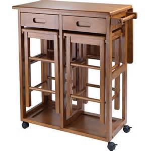 wood space saver table with 2 stools teak walmart com