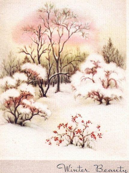 winter scene snow trees vintage christmas card shabby
