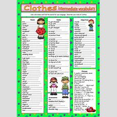Clothes Vocabulary For Intermediate Level Worksheet  Free Esl Printable Worksheets Made By