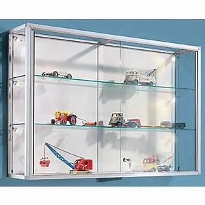 Vitrine Murale Verre : vitrine murale cadre aluminium anodis argent 2 tablettes en verre ~ Teatrodelosmanantiales.com Idées de Décoration