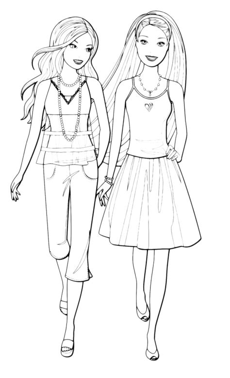 disegni da colorare migliori amiche a spasso con un amica