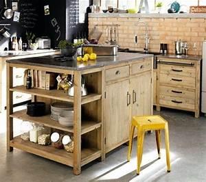 ilot de cuisine en bois plein la barraque pinterest With meuble de cuisine rustique 9 table de cuisine bois gallery of table de cuisine ronde