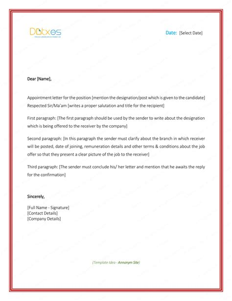 appointment letter sample  word format format