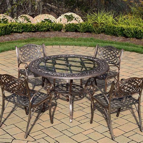 oakland living mississippi 5pc cast aluminum patio dining