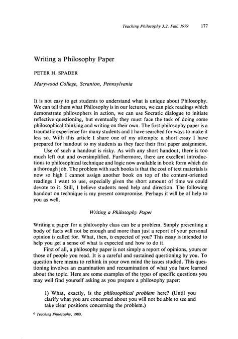 essay of teacher writing a philosophy paper peter h spader teaching