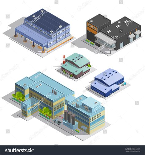 Isometric Images Set Different Types Warehouse Stock