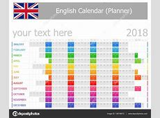 2018 planificador inglés calendario con meses Horizontal