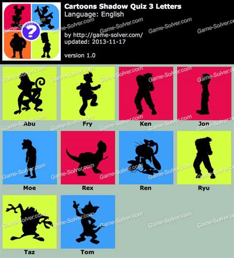 cartoon shadow quiz 6 letters shadow quiz answers solver 20791 | Cartoons Shadow Quiz 3 Letters