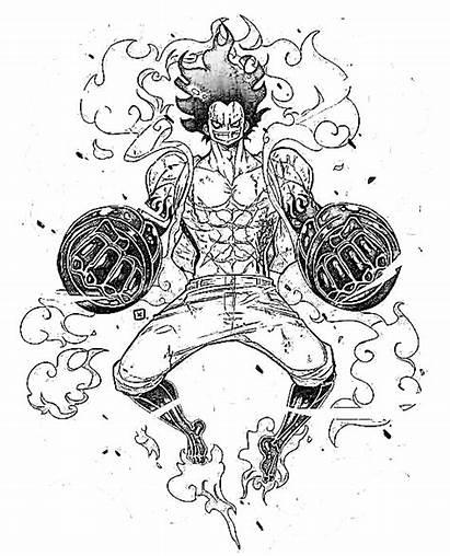 Luffy Dibujar Gear Colorear Imprimir Piece Negro