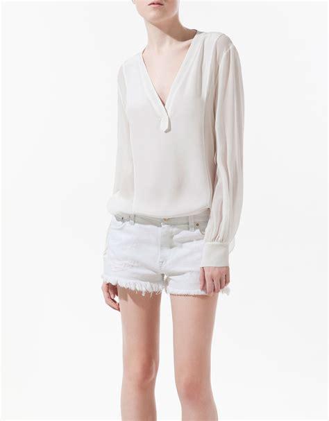 zara white blouse zara combined silk bib front blouse in white lyst