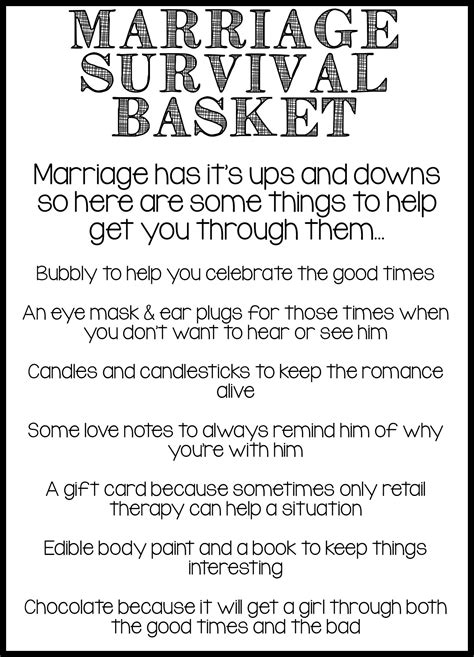 marriage survival basket diy projects bridal gift