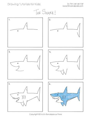 draw  shark tims printables