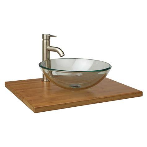 narrow depth bamboo vessel sink vanity top