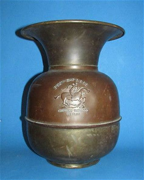 vintage brass copper spittoon pony express chewing tobacco