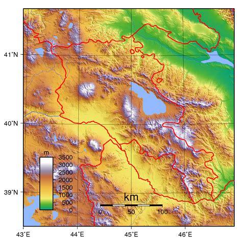 physical map  armenia armenia physical map vidiani