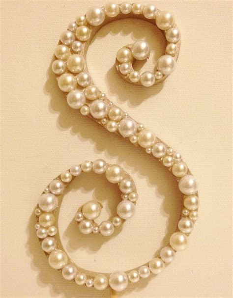 curly pearl monogram cake topper font  high quality wood hand painted  letter