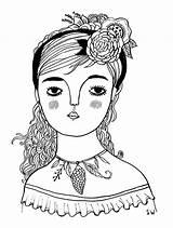 Coloring Walsh Sarah Gypsy Adult Drawing Illustration Sheets Crochet sketch template