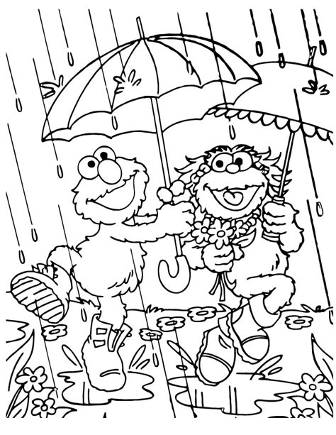 elmo and zoe rainy day coloring page h m coloring pages