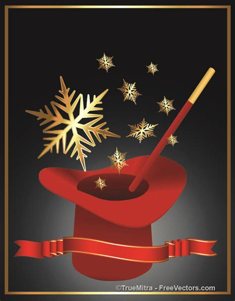magic hat with golden snowflakes vector free download