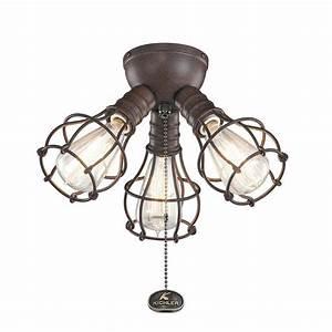 Industrial 3 Light Branched Ceiling Fan Light Kit