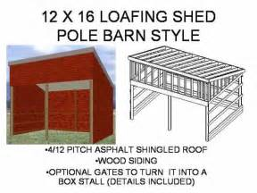 Free Loafing Shed Plans For Horses by Pole Barn Plans Sds Plans
