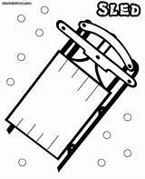 Sled Coloring Pages Snow Colorings sketch template
