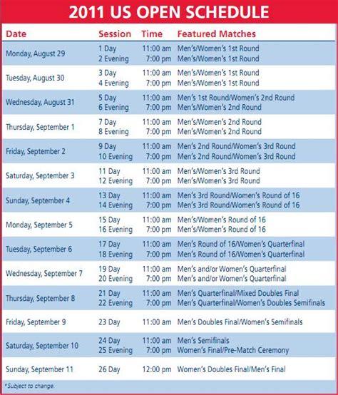 open  tennis championship  update  schedule