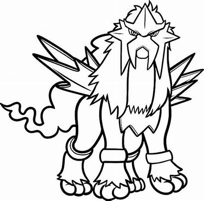 Pokemon Coloring Legendary Pages Printable Entei Colouring