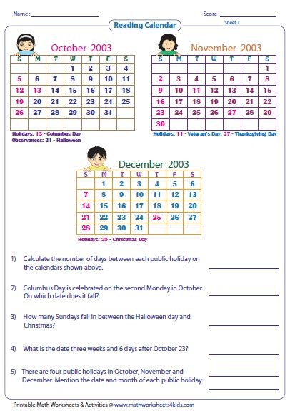 reading calendar worksheets with word problems