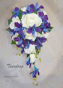 """Blue Purple orchids & Rose """"Real Touch"""" Teardrop Bridal ..."""