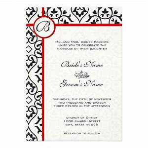 elegant damask side borders red trim wedding 5x7 paper With wedding invitations borders red