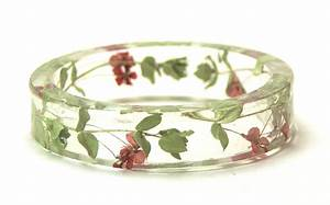 Real Flower Bracelet Real Dried Flowers Resin Jewelry Red